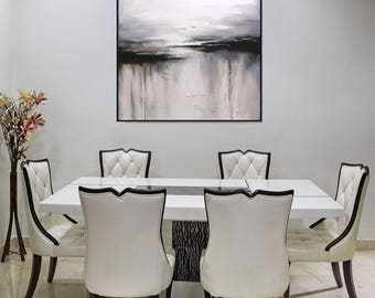 Abstract Black And White Wall Art Painting/ Large Canvas Art/ White Abstract Painting/ Contemporary Black And White Modern Art, Christovart