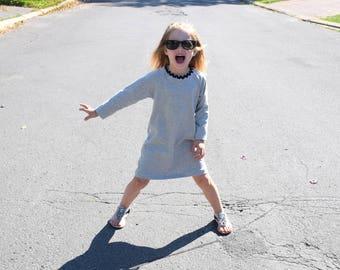 Long sleeve raglan dress, jersey dress, fall dress, a-line raglan dress, baby dress, toddler dress, kids dress, simple dress