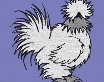 embroidery design Rooster Cock Chicken Silkie 4x4 pes hus vp3