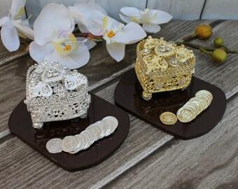 NEW!! Silver or Gold Wedding Arras, Ring Box, Arras de Boda, Unity Coins, Treasurer Chest Wedding Arras, Silver Wedding Arras, Wedding Arras