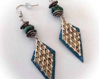 Earrings, blue, turquoise, zinc, polymer clay