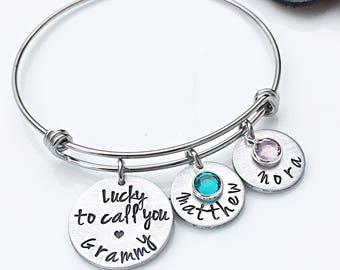 Grammy Gift, Gifts for Grandma, Grandmother Bracelet, Personalized Grandmother Jewelry, Grandparents Day Gifts, Charm Bracelet, Grandchild