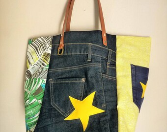 tropical yellow patchwork denim recycled designer tote bag stars Pocket camel leather handles