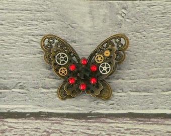 Black & Red Steampunk Butterfly Brooch, Steampunk Brooch, Steampunk Pin, Butterfly Pin, Butterfly Jewellery, Steampunk Jewellery