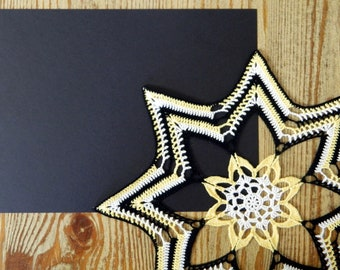 Colorful Star Doily - Crochet Doily - Yellow Star Flower Doily - Black White Yellow - Modern Crochet Decor - Multicolor Star Floral Doily