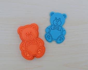 Boy Teddy Bear Cookie Cutter and Stamp Set