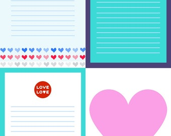 Printable Notepads / Notecards / Letter - Love and Hearts - A6 - 20 unique designs - just print and cut - print as many as you need