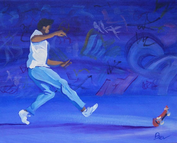 The Basement Tribe 1 - Original Painting in Acrylic of a Skateboarder on London's Southbank 30X25cm Framed