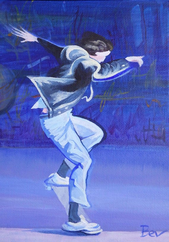 The Basement Tribe 5 - Original Painting in Acrylic of a Skateboarder on London's Southbank 17X23cm Framed