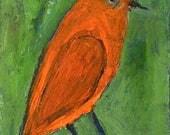 Art on Sale. Original Orange Bird Oil Painting. Wildlife Animal Art. Bird Bedroom Wall Decor. Apartment Miniature Painting 20