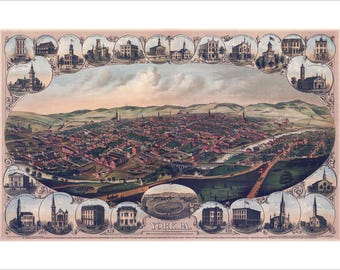 """York Pennsylvania in 1879 Panoramic Bird's Eye View Map by Davoust Kern 22x15"""" Reproduction"""