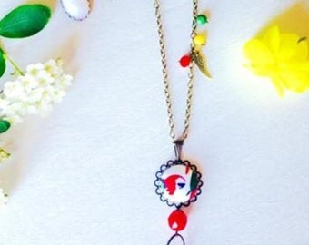 Parrot NECKLACE in fabric and beads