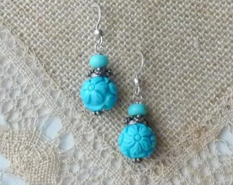 Sterling Silver Carved Turquoise Earrings Vintage Turquoise Dangle Natural Round Turquoise Bead Earrings Turquoise Pierced Turquoise Jewelry