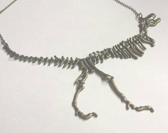 T-Rex Dinosaur Tyrannosaurus Bone Choker Pendant, Industrial Geek Cyberpunk Unisex Necklace, Teachers Gifts, Fun Unusual Metal Brass Jewelry