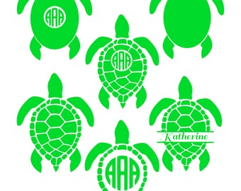 Sea Turtle Monogram SVG, Sea Turtle SVG, Sea Turtle Monogram, Turtle SVG Files, Turtle Silhouette, Dxf, Eps, Cricut Files, Commercial Use.