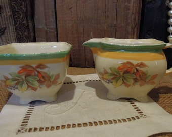 Vintage Creamer And Sugar Bowl / Royal Winton Grimwades / Virginia Pattern / Made in England
