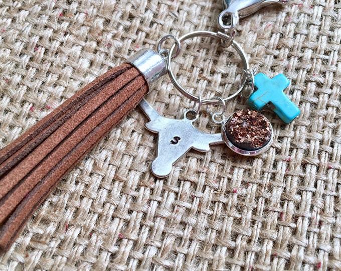 Custom Steer Keyring, Longhorn Keychain, Steer Keychain, Rodeo Keychain, Cowgirl Keychain, Druzy Charm Keychain, Ranch Wife Keychain
