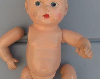 Vintage Composition Baby Doll Head Body Arms Legs Parts and/or Repair