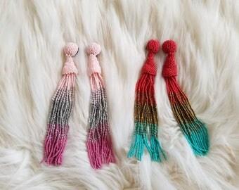 ombre multi color tassel drop beaded earrings, tassel earring, ombre tassel earring