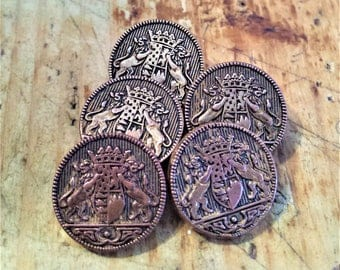 Vintage Set of 5 Brass, Lion Crest Buttons