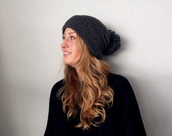 Pompom Brim Knit Beanie | Dark Grey Slouchy Hat