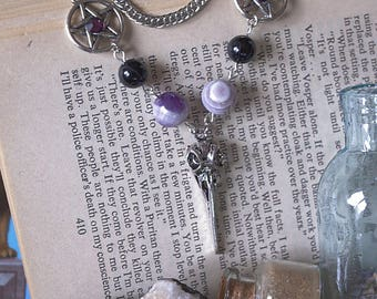 Witch Necklace witch jewelry Amethyst Necklace wiccan necklace witch gothic necklace pagan necklace witchy witchcraft occult amulet witch