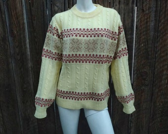 Vintage 80's Women's Cable Knit Sweater Yellow Ski Nordic Striped Acrylic NOS L XL