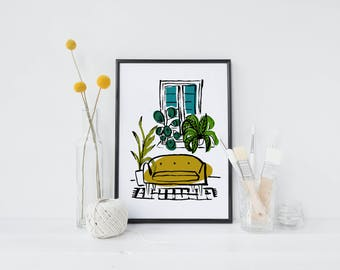 Retro sofa & Plants Fine art Giclee  print - A4