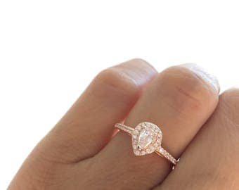 Pear Shaped Rose Gold Ring. Teardrop Ring. Mini Solitaire Ring. Promise Ring. Pear Shaped Engagement Ring. Small Teardrop Ring. Rose Gold.