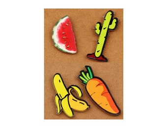 Summer acrylic brooches watermelon, Cactus, banana, carrot / / child gift, girl, boy, woman, mother, Passion, rebel