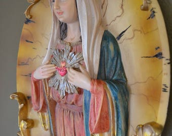"Madonna Virgin Mary Sacred Heart Wall Plaque, Vintage, Made of Resin, Nice Details & Colors, 14"" Tall"