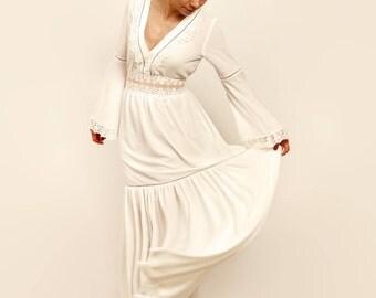Rustic wedding dress, bell sleeves, boho wedding dress, long sleeve dress, unconventional dress, alternative wedding dress, V neckline