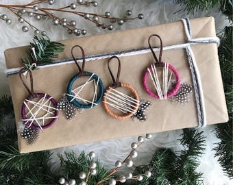 Dream Catcher Christmas Ornaments, Holiday Gifts for Friends, Boho Dreamcatcher Gift, Bohemian Christmas Decor, Colorful Xmas Ornament Set