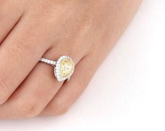 Natural Diamond Ring, Halo Engagement Ring, Unique Diamond Engagement Ring, Pear Shape Diamond Ring, fancy yellow ring, Wedding Ring