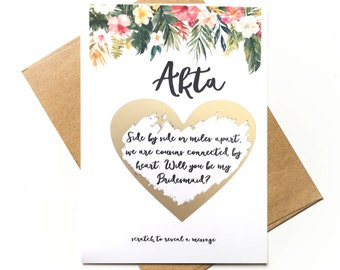 Personalised Tropical frame - scratch to reveal - Will you be my Bridesmaid / MOH? Side by side or miles apart