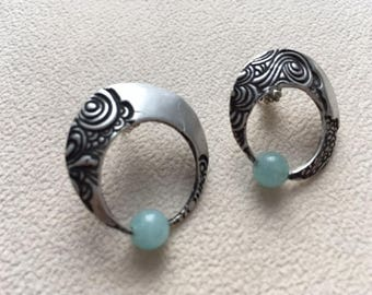 Sterling silver slight dome post earrings with 5mm aquamarine bead.