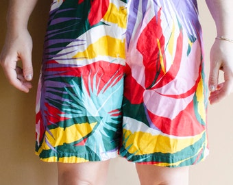 Super Rad 90s Beach Shorts- Crazy Print Shorts, Vintage Printed Shorts, Vintage Floral Shorts, Vintage Beach Shorts, 90s 80s , Vacation