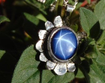 Blue star sapphire pendant necklace sterling silver slower something blue Pendant and necklace free shipping 6 ray star daisy pendant 925