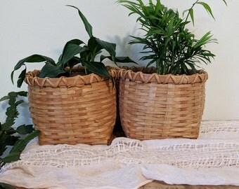 Double Baskets / Joined Double Basket Planter / Basket Planter