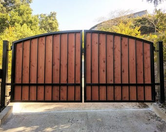 Metal gate etsy for Single wooden driveway gates