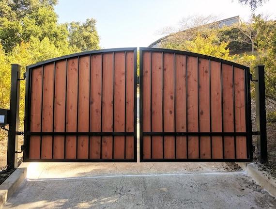 Free shipping standardgates custom size metal steel wood for Driveway gates online