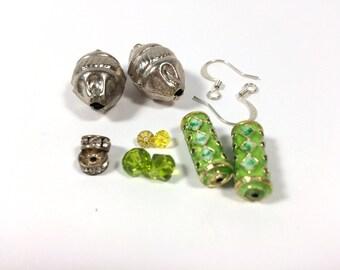 12pc Earring Jewelry Bead Kit - Jungle Green & Silver Theme