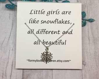 snowflake necklace, message card, little girls necklace, snowflake jewelry, Christmas jewelry, Christmas necklace, winter jewelry, snowflake