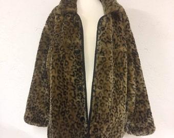vtg faux leopard fur coat