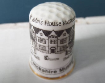 "Porcelain Thimble, St John's House Museum, Warwickshire, English Bone China, Made in Great Britain, Excellent Condition, 1"" x 0.75"""