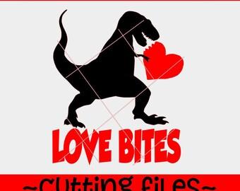 Love Bites svg, Love Bites Dinosaur svg, Love Bites DXF SVG Love Bites trex File Cutting File DXF, Love bites dinosaur, t-rex love bites svg