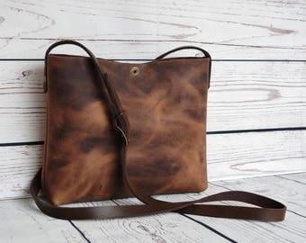 Leather crossbody bag, leather purse, small handbag, cross body bag, brown purse, shoulder bag