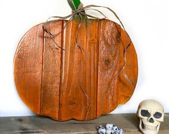 Wooden Pumpkin Decor - Wood Pumpkin Door Hanger - Rustic Halloween Decor - Thanksgiving Decor - Primitive Fall Decor - Front Door Decor