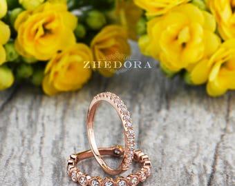 bezel stackable set in 14k or 18k rose gold bezel wedding band bezel stacking