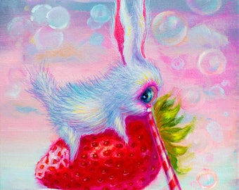 limited edition prints of little bunny cyclop. giclee prints. Popsurrealistic prints.